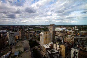 Downtown Detroit skyline view